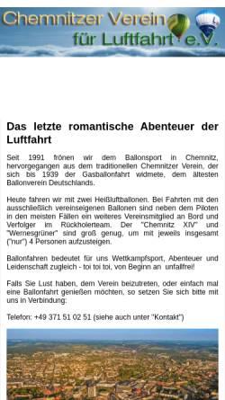Vorschau der mobilen Webseite www.chemnitzballon.de, Chemnitzer Verein für Luftfahrt e.V.