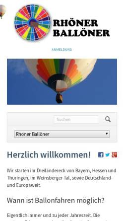 Vorschau der mobilen Webseite www.rhoener-balloener.de, Rhoener Balloener e.V. - Ballonsportler aus der Rhön