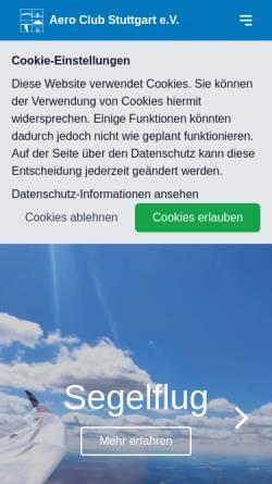 Vorschau der mobilen Webseite aeroclub-stuttgart.de, Aeroclub Stuttgart