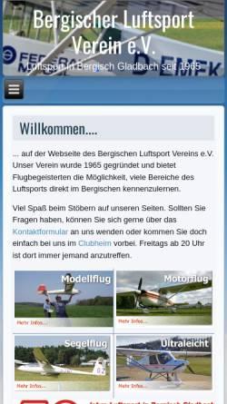 Vorschau der mobilen Webseite www.blvev.de, Bergischer Luftsportverein