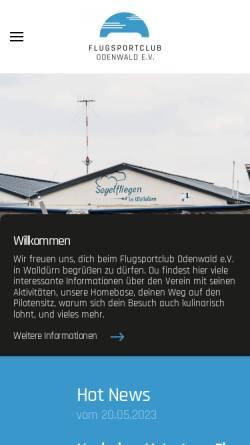 Vorschau der mobilen Webseite www.fsco.de, Flugsportclub Odenwald Walldürn
