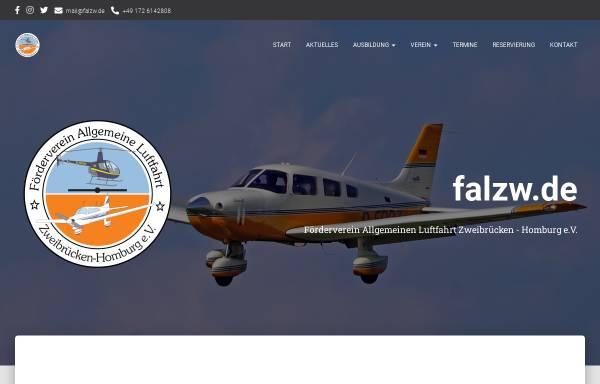 Vorschau von www.falzw.de, Fördervereins Allgemeine Luftfahrt Zweibrücken-Homberg