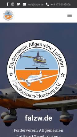 Vorschau der mobilen Webseite www.falzw.de, Fördervereins Allgemeine Luftfahrt Zweibrücken-Homberg