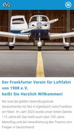 Vorschau der mobilen Webseite www.fvl-online.de, Frankfurter Verein für Luftfahrt