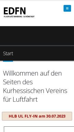 Vorschau der mobilen Webseite www.kvfl.de, Kurhessischen Verein f. Luftfahrt v. 1909 e.V.