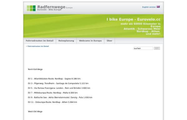 Vorschau von www.eurovelo.cc, Radfernwege in Europa