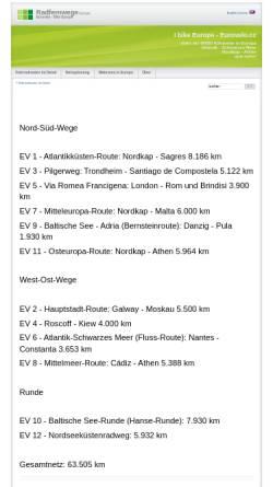 Vorschau der mobilen Webseite www.eurovelo.cc, Radfernwege in Europa