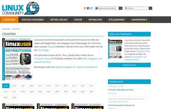 Vorschau von www.linux-user.de, Linux User