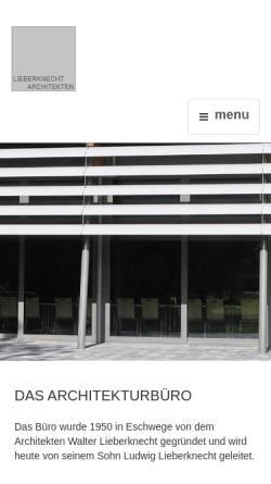 Vorschau der mobilen Webseite www.lieberknecht-architekten.de, Lieberknecht Architekten