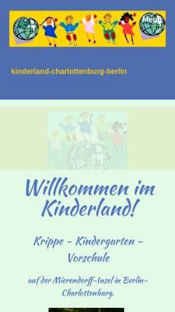 Vorschau der mobilen Webseite www.kinderland-charlottenburg.de, Kinderland