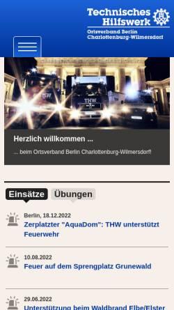 Vorschau der mobilen Webseite www.thw-chawi.de, Technisches Hilfswerk (THW)