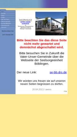 Vorschau der mobilen Webseite www.vater-unser-bb.de, Böblingen-Diezenhalde - Vater unser Gemeinde