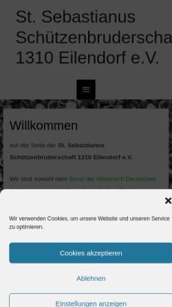 Vorschau der mobilen Webseite www.schuetzen-eilendorf.de, Sankt Sebastianus Schützenbruderschaft 1310 Eilendorf e.V.