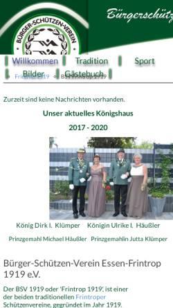 Vorschau der mobilen Webseite www.bsvfrintrop1919.de, Bürger-Schützen-Verein Essen-Frintrop 1919 e.V.