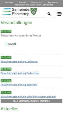 Vorschau der mobilen Webseite www.finnentrop.de, Gemeinde Finnentrop