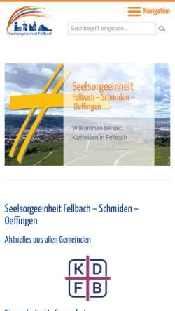 Vorschau der mobilen Webseite www.katholiken-fellbach.de, Katholische Seelsorgeeinheit