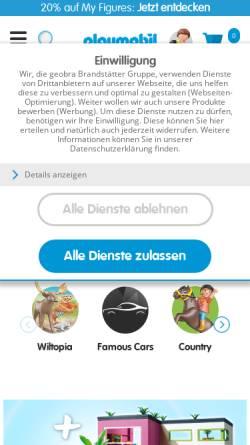 Vorschau der mobilen Webseite www.playmobil.de, Playmobil