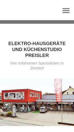 Vorschau der mobilen Webseite www.kuechen-preisler.de, Preisler GbR Elektro-Hausgeräte + Küchenstudio