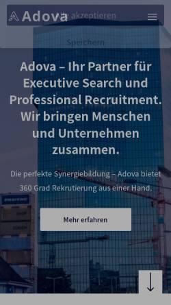 Vorschau der mobilen Webseite www.adova.ch, Adova Personalberatung & Executive Search AG