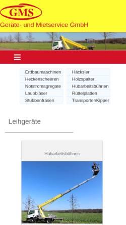 Vorschau der mobilen Webseite www.gms-bruchmuehle.de, GMS Geräte- und Mietservice GmbH