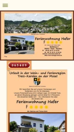 Vorschau der mobilen Webseite www.fewo-hafer.de, Ferienwohnung Hafer