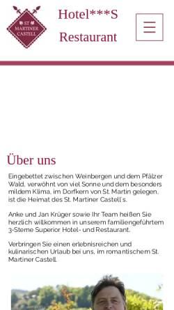 Vorschau der mobilen Webseite www.martinercastell.de, Hotel-Restaurant St. Martiner Castell