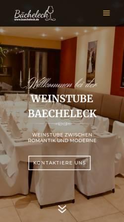 Vorschau der mobilen Webseite www.baecheleck.de, Weinstube Bächeleck