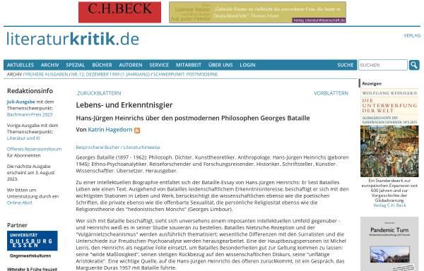 Vorschau von www.literaturkritik.de, Hans-Jürgen Heinrichs über Georges Bataille