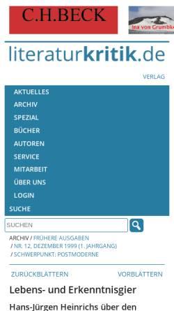 Vorschau der mobilen Webseite www.literaturkritik.de, Hans-Jürgen Heinrichs über Georges Bataille