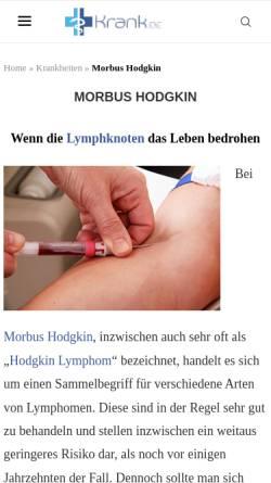 Vorschau der mobilen Webseite www.morbus-hodgkin.de, Selbsthilfegruppe Morbus Hodgkin
