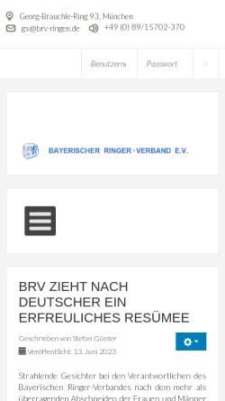 Vorschau der mobilen Webseite www.brv-ringen.de, Bayerischer Ringer-Verband (BRV)