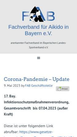 Vorschau der mobilen Webseite www.aikido-fab.de, Fachverband für Aikido in Bayern (FAB)