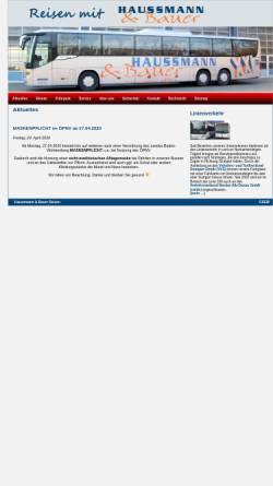 Vorschau der mobilen Webseite www.haussmann-bauer-reisen.de, Haussmann & Bauer Omnibusverkehr GmbH & Co KG