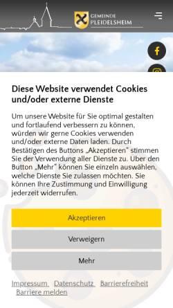 Vorschau der mobilen Webseite www.pleidelsheim.de, Gemeinde Pleidelsheim