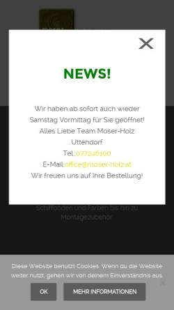 Vorschau der mobilen Webseite www.moser-holz.at, Gustav Moser, Moser-Holz