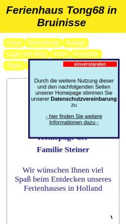 Vorschau der mobilen Webseite www.ferienhaus-holland-bruinisse.de, Ferienhaus Familie Steiner