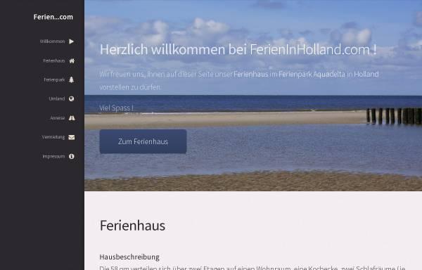 Vorschau von www.ferieninholland.com, privates Ferienhaus im Ferienpark Aquadelta