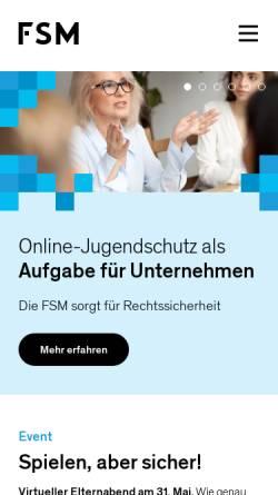 Vorschau der mobilen Webseite www.fsm.de, Freiwillige Selbstkontrolle Multimedia-Diensteanbieter e. V. (FSM)