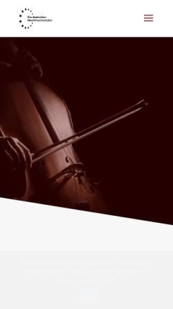 Vorschau der mobilen Webseite www.die-deutschen-musikhochschulen.de, Rektorenkonferenz der Musikhochschulen in der Bundesrepublik Deutschland