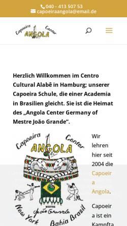Vorschau der mobilen Webseite www.capoeira-angola-hamburg.de, Capoeira Angola Center Germany, Hamburg