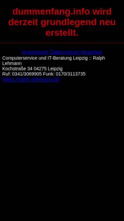 Vorschau der mobilen Webseite dummenfang.info, Dummenfang in der Informationstechnologie