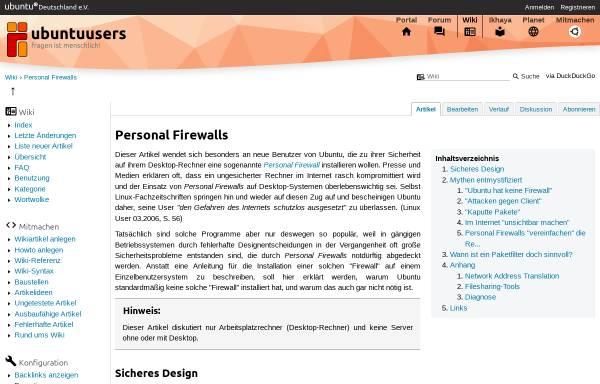 Vorschau von wiki.ubuntuusers.de, Personal Firewalls - ubuntuusers Wiki