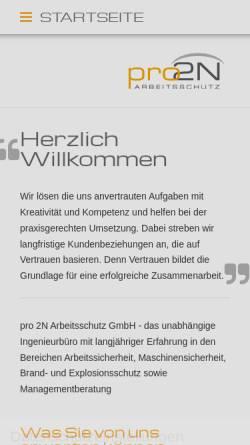 Vorschau der mobilen Webseite www.pro2n.de, Pro 2N Arbeitsschutz Nacke Neidert GbR