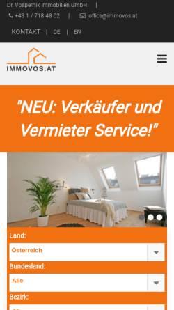 Vorschau der mobilen Webseite www.immovos.at, Immobilien Dr. Vospernik