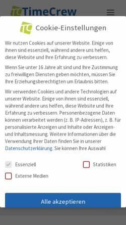 Vorschau der mobilen Webseite www.timecrew.de, Timecrew GmbH