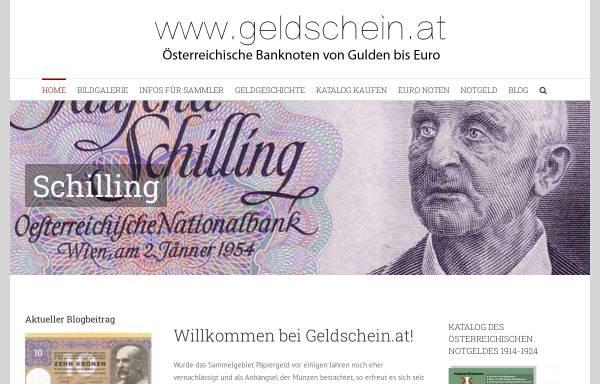 Vorschau von www.geldschein.at, Sammlerseite für Österreichische Banknoten