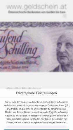 Vorschau der mobilen Webseite www.geldschein.at, Sammlerseite für Österreichische Banknoten