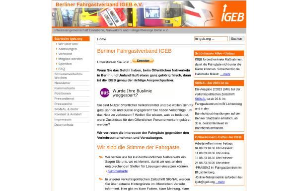 Vorschau von www.igeb.org, Berliner Fahrgastverband IGEB