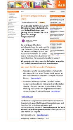 Vorschau der mobilen Webseite www.igeb.org, Berliner Fahrgastverband IGEB