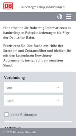 Vorschau der mobilen Webseite bauarbeiten.bahn.de, Deutsche Bahn - Baubedingte Fahrplanänderungen